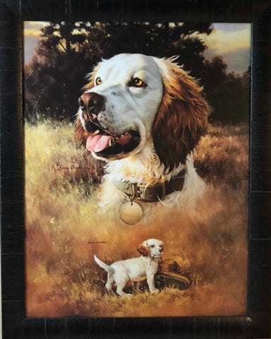 Larry Chandler Brittany Spaniel with Pup Art Print-Framed