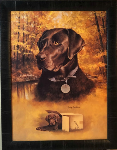 Larry Chandler Chocolate Lab with Pup Art Print-Framed