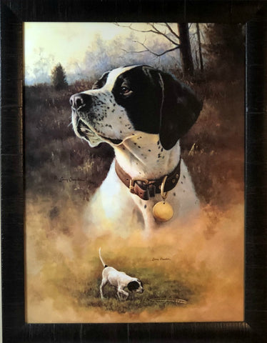 Larry Chandler Grerman Shorthair with Pup Art Print-Framed