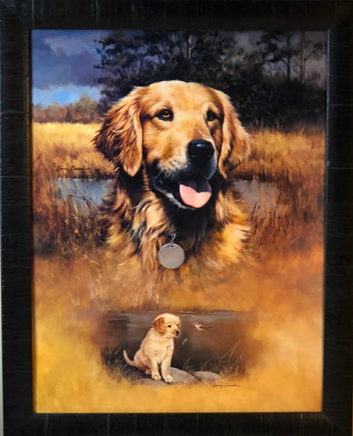 Larry Chandler Golden Retriever with Pup Art Print-Framed