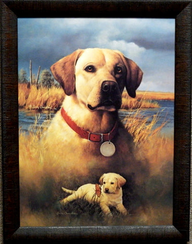 Larry Chandler Yellow Lab and Puppy Framed Print 20 x 26