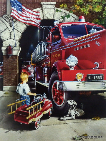 Dan Hatala Fire Truck Firefighting Picture CHILDHOOD DREAMS