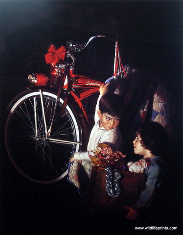 Bob Byerley children's print getting Schwinn bike for Christmas
