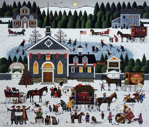 Charles Wysocki Small Town Christmas Church Print