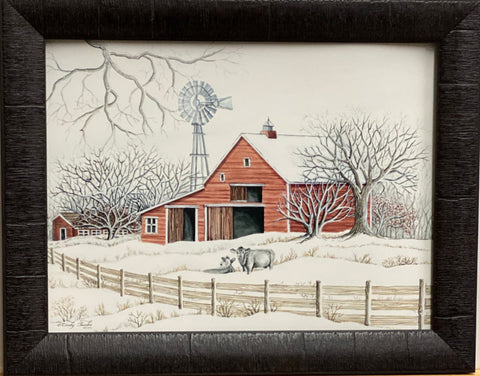 Cindy Jacobs Winter Barn with Windmill Art Print-Framed 19 x 15