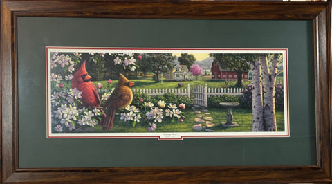 Kim Norlien Country Music Cardinal Farm Art Print-Framed 34 x 19