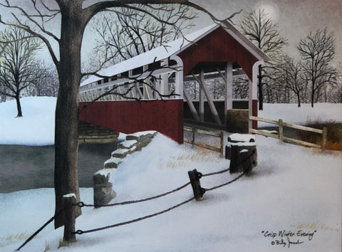 Billy Jacobs Crisp Winter Evening Wrapped Canvas  16 x 12