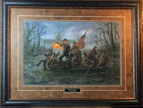 Jon McNaughton Crossing the Swamp President Donald Trump Art Print-Framed