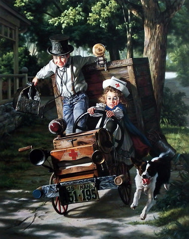 Bob Byerley Children's Art Playing Doctor Nurse Driving Ambulance