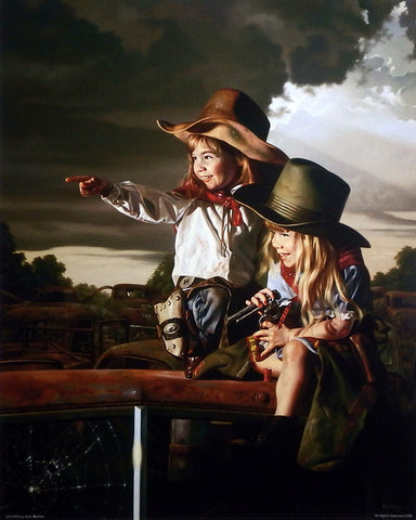 Bob Byerley Children's Art Print Cowgirls playing sheriff