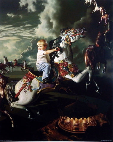 Bob Byerley Children's Print boy riding carousel horse