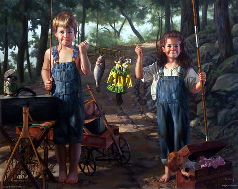 Bob Byerley Children Fishing Art Print