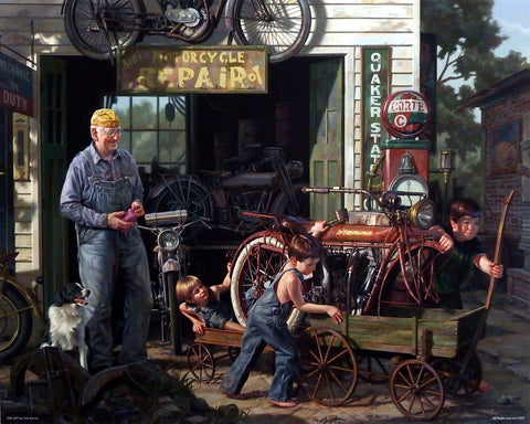 Bob Byerley Children's Print about vintage Indian motorcycle