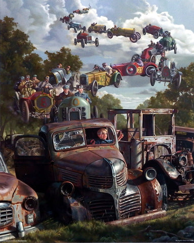 Bob Byerley Children's Print Dreaming about racing cars