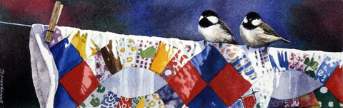 It Takes Two Chickadees on Quilt by Adele Earnshaw