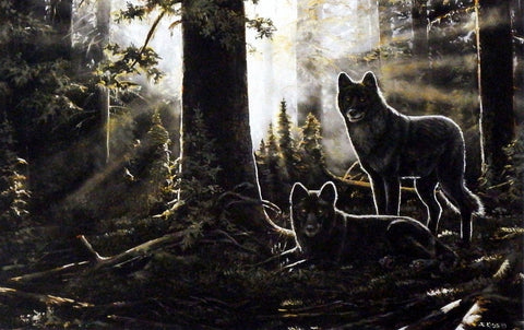 Andrew Kiss Wolf Art Print BLACK WATCH