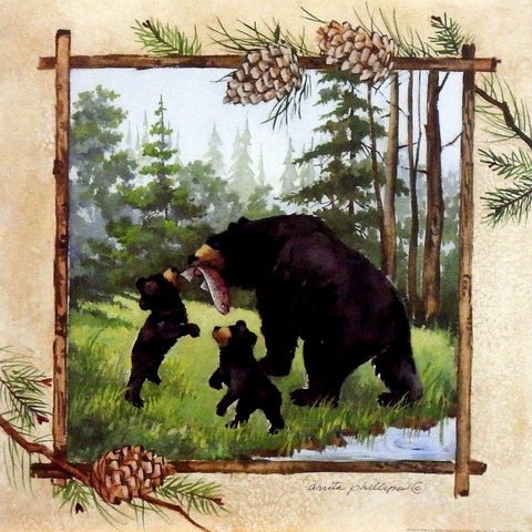 Anita Phillips Black Bear Art Print Lunch Time
