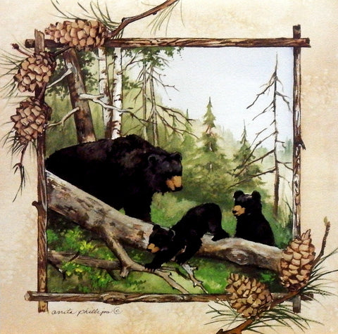 Artist Anita Phillips Black Bear Family picture print