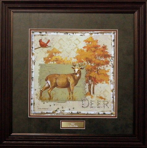 Anita Phillips Deer on Green- Framed