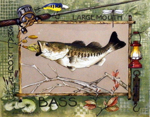 Anita Phillips Fishing Print LARGEMOUTH BASS