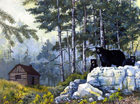 Anita Philllips Art Print Black Bears and Cabin
