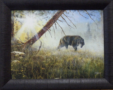 Jim Hansel's print EYES IN THE MIST wolf stalking through the forest