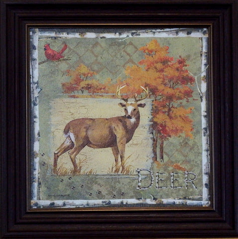 Anita Phillips Deer on Green-Framed