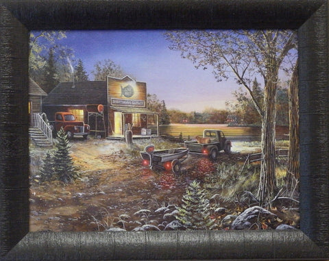 Jim Hansel Fishing Print Old Bait Shop GOOD OLD DAYS