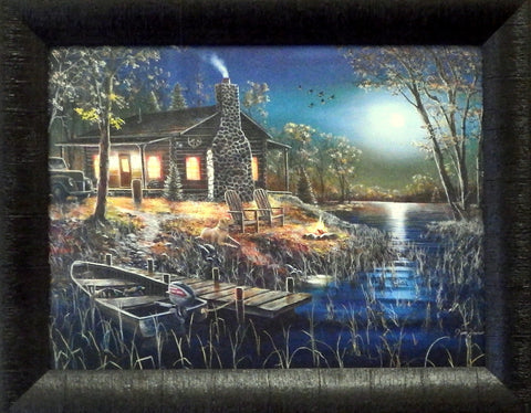 Jim Hansel Lake Cabin Art Print AFTER DARK