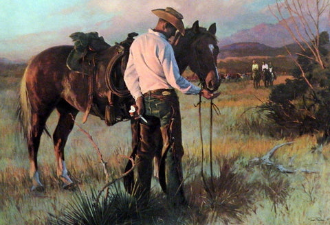 "Tom Ryan"" Sharing a Apple"" Western Cowboy Print  21 x 14.5"