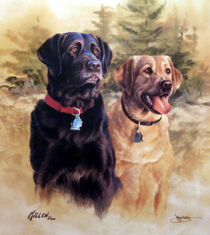 Killen A Good Pair Black and Yellow Labradors-Signed