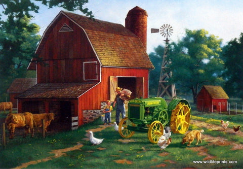 Charles Freitag John Deere Print Little Boy Playing Farmer