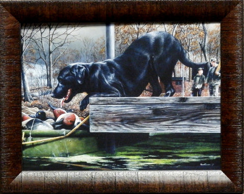 Kevin Daniel First Hunt Black Lab Hunting Print-Framed