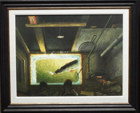 Les Kouba Darkhouse Spearing Canvas Fishing Canvas Art-Framed
