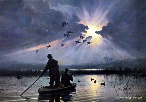 Les Kouba duck hunting print DAYBREAK ON THE MARSHES
