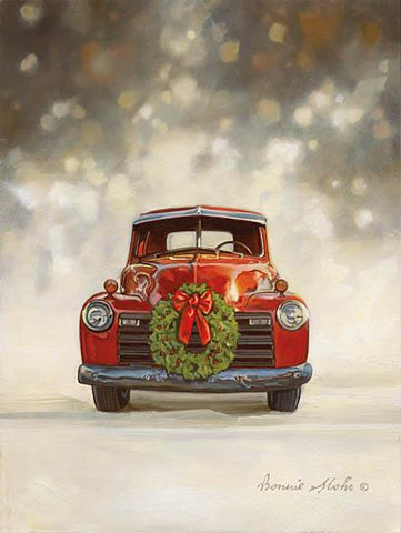 Bonnie Mohr Dazzling Red Old Truck Wreath Christmas Art Print