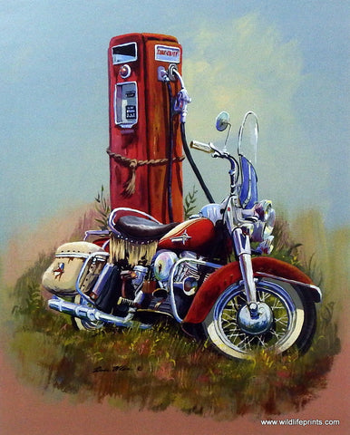 Dale Klee Vintage Motorcycle Texaco Fire chief pump art print