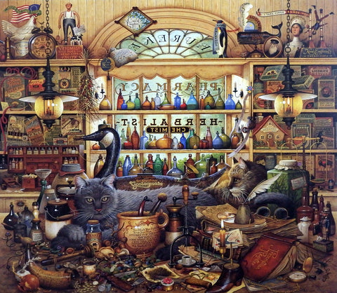 Charles Wysocki Cat Picture in Pharmacy