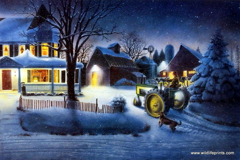 Doug Knutson Farm John Deere Art Print Evening Chores