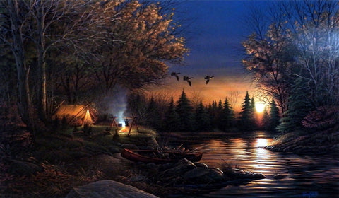 Terry Redlin Tent Camping and Canoeing Print EVENING SOLITUDE