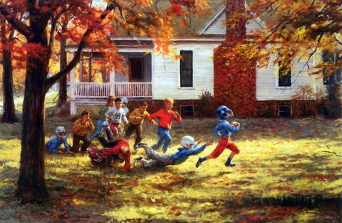 Andy Thomas Children Playing Fall Football