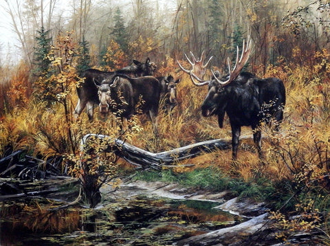 Andrew Kiss Moose Art Print FALL RITUAL