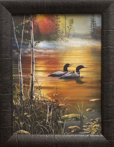 Jim Hansel Family Outing Loon Lake Art Print-Framed 15 x 19