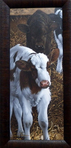 Jerry Gadamus Cow Print Feedin Time S/N with Certificate-Framed