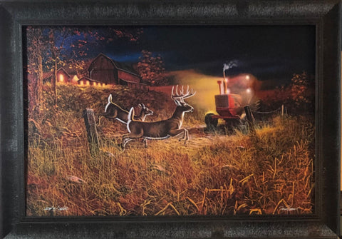 Jim Hansel Field of Dreams II Deer Farm Art Print-Framed