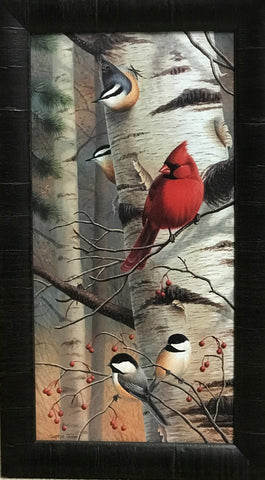 Cynthie Fisher Unannounced Visitors II Cardinal Print Framed 13.5 x 24