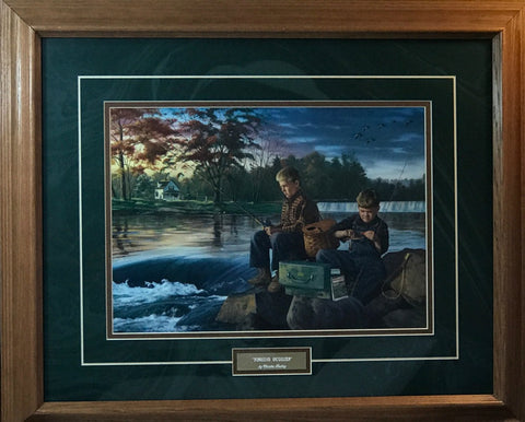 Charles Freitag Fishing Buddies Art Print-Framed