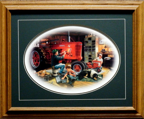 "Forever Red Farmall Tractor Art Print By Charles Freitag Framed  21"" x 17"""