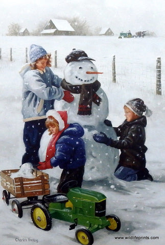 Charles Freitag Picture Children Building Snowman FRESH SNOW