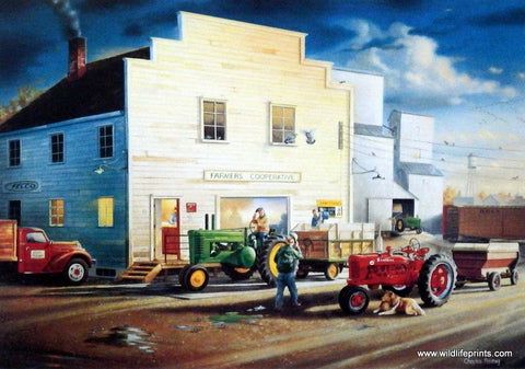 Picture of local coop with John Deere and Farmall Tractors outside
